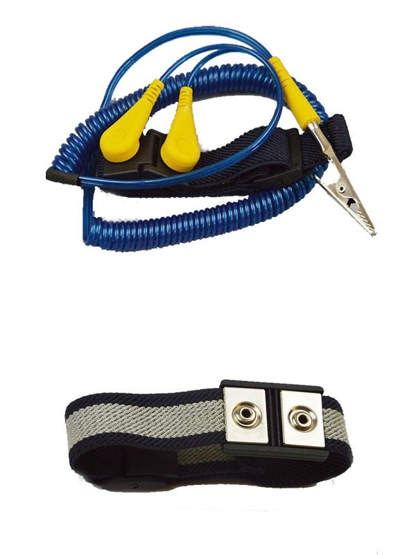Dual Coiled Cord ESD Grounded Wrist Strap Dark Blue Black Elastic Fabric 4mm stud L plug