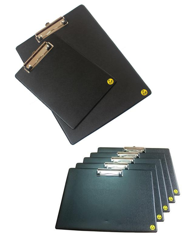 PP Black Anti Static ESD Cleanroom Clipboard A4 A3 150SKT 2mm 5% Haze