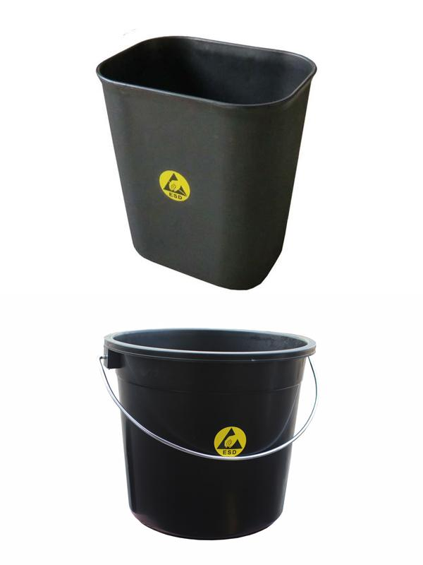 CE Conductive Black ESD Office Supplies Anti Static Trash Dustbin For EPA Area