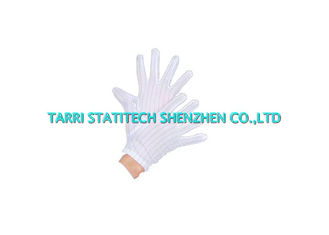China Lint Free ESD Striped Plain Gloves Comfortable Polyester White Anti Static Working Glove supplier