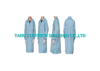 China TC Anti static Lab Coat ESD Lint Free Cleanroom Smock White Green Blue supplier