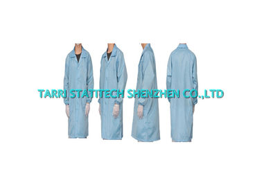 China TC Anti static Lab Coat ESD Lint Free Cleanroom Smock White Green Blue distributor